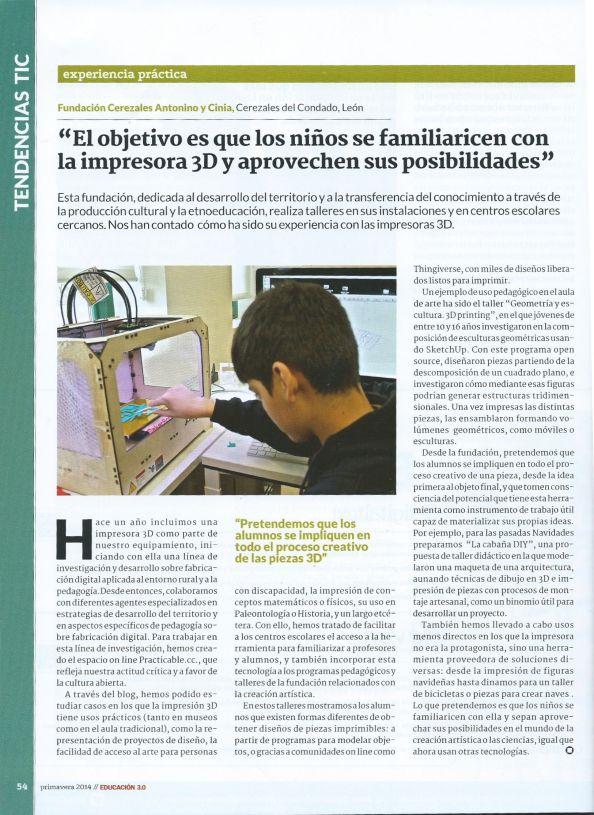 impresion 3D, educación, revista, artículo